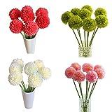 YSFWL Künstliche Seide Rosen Parteidekor Bulk Kunstblumen 5pcs Lavendel Ball Seide Blumen Blumenstrauß Home Hochzeit Dekoration Künstliche Fake Blume (Weiß) - 3