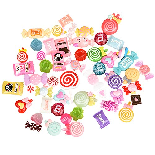 Euvoym 50 Pieces Mixed Candy Sweets DIY Flat Back Resin Charms Beads Slime Charms Set for Scrapbooking Phone Case Craft Decoration