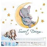 Little Deco Kinderzimmer Aufkleber Elefant & Spruch Sweet Dream I 82 x 50 cm (BxH) I Mond & Sterne Wandbilder Wandtattoo Tiere Deko Babyzimmer Junge Kinder DL206-16