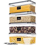 Vtopmart Airtight Food Storage Containers with Lids 4PCS Set 3.2L,Plastic Spaghetti Container for Pasta and Long Noodles, BPA Free Air Tight Kitchen Pantry Organization and Storage
