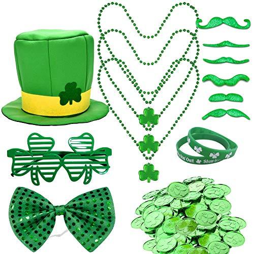 Sayala St Patrick's Day Accessory Set,Irish Shamrock Hut Kobold Zylinder und Bart,Gummibänder Armbänder, Mustache,Shamrock Gläser,Shamrock-Münzen Irish Day Zubehör