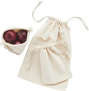 Tabitha Eve | Reusable Produce/Grocery Bags | Set of Three Sizes -Small, Medium & Large | 100% Organic Cotton | Eco Friendly | Handmade in UK