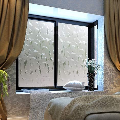 LMKJ Película de patrón de Hierro Forjado Plateado,película de Ventana esmerilada Opaca de vidrieras,Etiqueta de Vidrio de privacidad electrostática de Vinilo A24 60x100cm