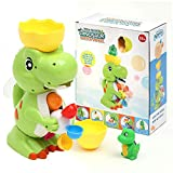 LESONG Bath Toys for Kids, Funny Dinosaur Bathtub Toys with Windmill Waterfall for Bath Time Sensory Development, Strong Suction Cups Tub Toys for Toddlers Boys Girls, Kids Games in Bathtub Bathroom