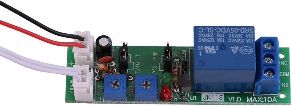 Módulo temporizador DC 5V 12V 24V Ciclo ajustable Temporizador de retardo Interruptor de encendido/apagado Módulo de relé(DC5V, 0-30min)
