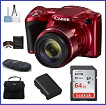 Canon PowerShot SX420 is Digital Camera [Red] 64GB Pro Bundle, Includes 64GB SDXC Class 10 Memory Card, Spare Battery, Small Camera Bag and More