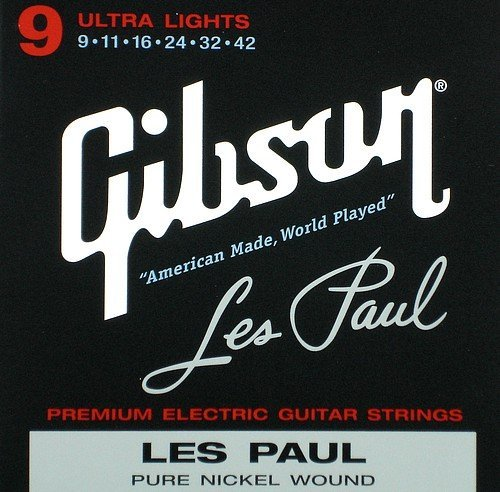 Gibson Les Paul Premium Electric Guitar Strings, Ultra Light Gauge 9-42