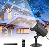 Snowflake Projector Light Outdoor with Wireless Remote Control, Adjustable Snowfall Projector Waterproof Rotating Snow Decorative Projector Light Indoor for Christmas, Holiday, Party, Wedding, Garden
