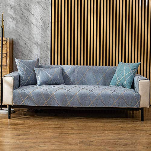 Fundas de sofá Antideslizantes Impermeables, Gruesa, Antideslizante, de fácil Ajuste, Lavable, Protector de Muebles, Funda de sofá, Funda Caterpillar Azul Claro 70x70cm (28x28 Pulgadas)