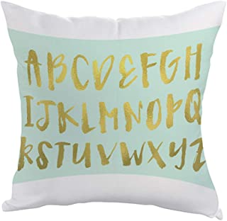 Alphabet Printed Pillow, Polyester Fabric 40 X 40 cm By Decalac, White