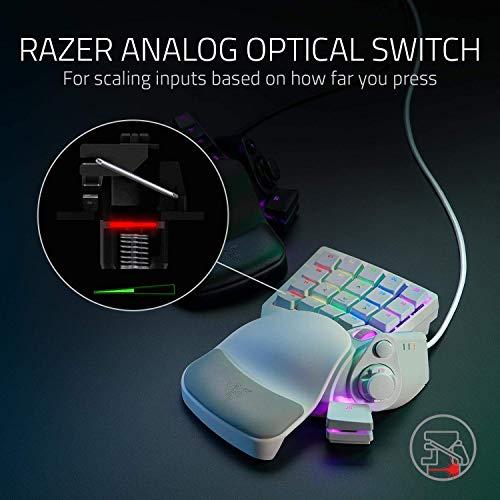 Razer Tartarus Pro Mercury - Gaming Keypad (Gamepad mit analog-optischen Tasten, 32 programmierbare Tasten, anpassbarer Auslösepunkt, Profile, Handballenauflage, RGB Chroma Beleuchtung) Weiß