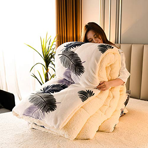 BAIHAO Winter Duvet King Size Lamb Velvet Fabric Winter Quilt, Cotton Fiber Filled Core Double-sided Thick Breathable Winter Warm Quilt Suitable for Home Use and Gifts