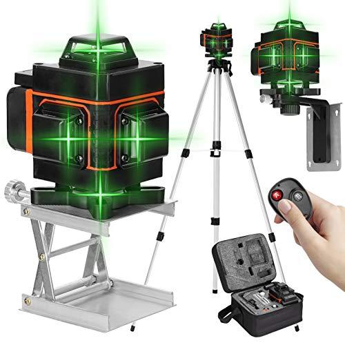 Nivel láser 16 líneas 360 grados horizontal vertical con base giratoria,Nivelador laser autonivelante,Niveles laser verde profesionales con control remoto (16 líneas con tripode)