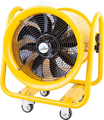 "Iliving ILG8VF16 Portable Exhaust, Vent Fan for Home Attic, Shed, or Garage Ventilation, 4590 CFM, 16"", Yellow"