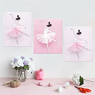 AmazingWall Dance Wall Decal Ballet Art Decor Painting on Canvas Baby Nursery and Girls Room Decor 9.84x11.81 3Pcs/Set