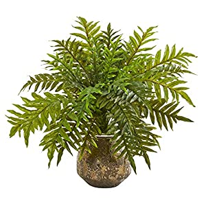 Silk Flower Arrangements Nearly Natural 24in. Hares Foot Fern Artificial Vase (Real Touch) Silk Plants, Green