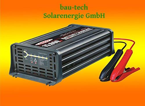 Batterieladegerät 12V, 15 Amper, 7-Stufen IUoU Automatik, Blei Calcium VRLA AGM GEL Nass von bau-tech Solarenergie GmbH