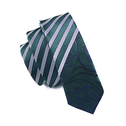 Jason & Vogue slim line Designer Cravate fin en vert rayé blanc