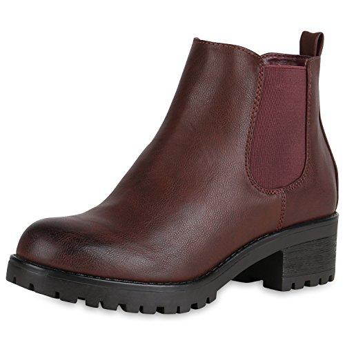 SCARPE VITA Bequeme Damen Chelsea Boots Profilsohle Stiefeletten Blockabsatz 151871 Dunkelrot Rot 36