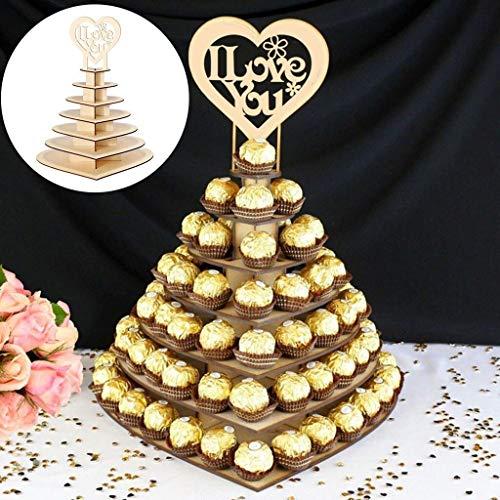 Soporte de madera en forma de corazón con forma de corazón de chocolate Ferrero Rocher con soporte para exhibición de chocolate, decoración de caramelos #T3G