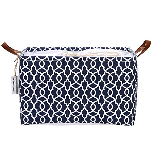 Sea Team Geometry Pattern Canvas Fabric Storage Basket Collapsible Geometric Design Storage Bin with Drawstring Cover and PU Leather Handles, 16.5 by 11.8 inches, Waterproof Inner, Navy Blue
