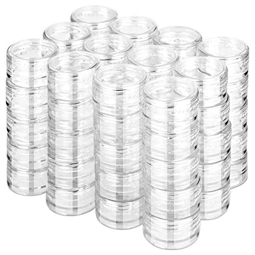 60Pcs Cosmetic Containers, HNYYZL 3 Gram Clean Plastic Jar Travel Sample Empty Container, for Lotion, Eye Shadow Nails Powder, Jewelry, and Creams Sample Make-up Storage(Transparent, 3ML)