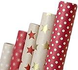Papier cadeau rétro I A1250 I Papier cadeaux Anniversaires, mariages ou comme (Papier recyclé écologique 5...