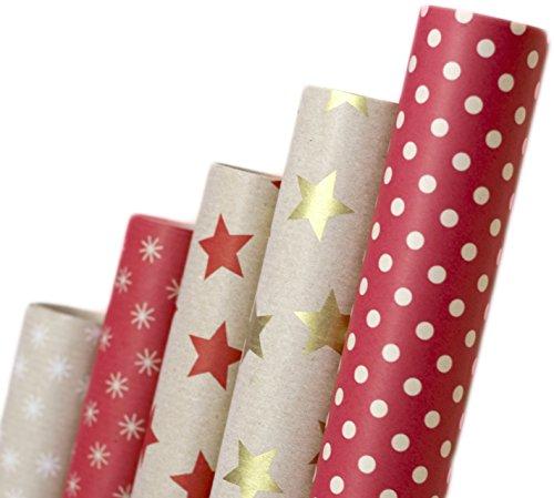 Nature Geschenkpapier aus Recycling-Papier - Weihnachstgeschenkpapier Geburtstagspapier Geschenkverpackung für Geburtstag Xmas Weihnachten Papier Geschenke - 5 Rollen Set