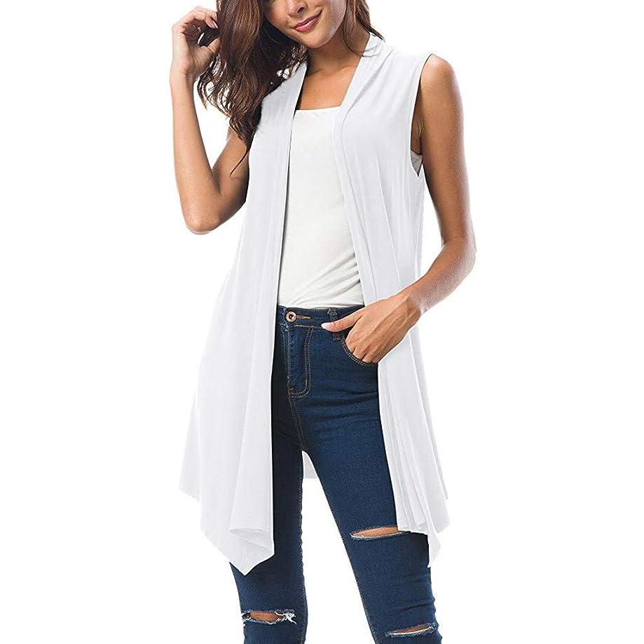 Fashion 2019 Women's Open Front Cardigan Asymmetric Hem Draped Sleeveless Vest Plus Size Long Blouses by QIQIU