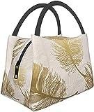 Bolsa de almuerzo Corona Plume Foil Gold Lunch Box Bolsa de comida Bolsa de aislamiento portátil Bolsa de cremallera Paquete