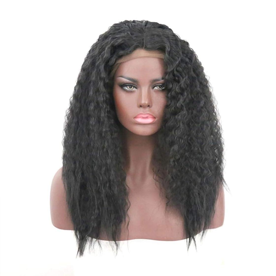 明確な彫刻家文房具Summerys 女性のためのかつらフロントレーススモールロールブラックふわふわロング巻き毛