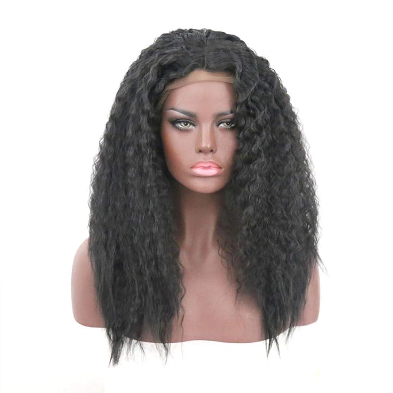丈夫従事した安定したSummerys 女性のためのかつらフロントレーススモールロールブラックふわふわロング巻き毛