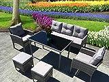 <span class='highlight'>UK</span> Leisure World New Rattan garden cube dining set Wicker Conservatory <span class='highlight'>Outdoor</span> Garden <span class='highlight'>Furniture</span> Set (Paris Grey)