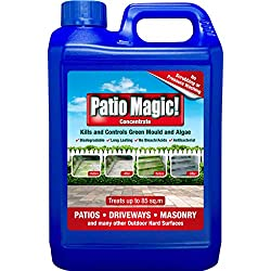 Patio Magic! Liquid Concentrate Mould, Algae and Moss Killer can be used on hard surfaces indoor and outdoor, and can be used as a pre-paint fungicidal wash Patio Magic kills green mould in 2-4 days, and gently cleans the exposed surfaces in the week...