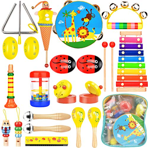Wesimplelife Toddlers Musical Instruments, 22pcs Wooden Percussion Instrument Toys Rhythm Band Set Include Tambourine Xylophone Early Education Toys Gift for Kids with Storage Bag