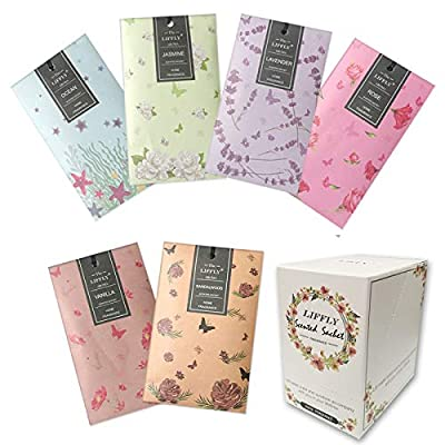 LIFFLY 14 Packs Scented Sachets for Drawers and Closets Lavender, Rose, Jasmine, Ocean, Vanilla, Sandalwood, 6 Scent (6 Different Scent)