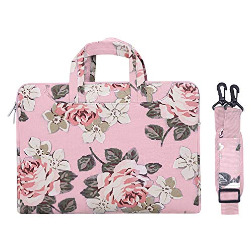 MOSISO Laptop Shoulder Bag Compatible with 2019 MacBook Pro 16 inch A2141, 15 15.4 15.6 inch Dell Lenovo HP Asus Acer Samsung Chromebook, Canvas Rose Carrying Briefcase Handbag Sleeve Case Cover, Pink