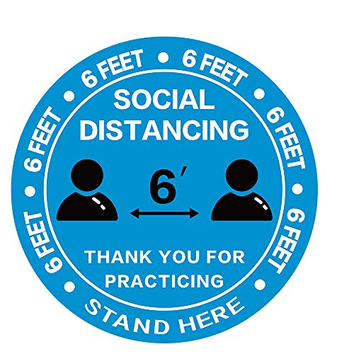 """Social Distancing Floor Decal Stickers - 30 Pack Stand Floor Decal - 8"""" Wait Here Sign Safety Distance of 6 Feet Specialized Sticker Markers, for Crowd Control Guidance, Pharmacy, Bank, Lab"""