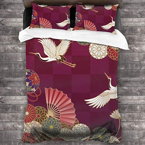 Duvet cover bedding Set,Brown Kimono Cranes Handball Hand Fan And Chrysanthemums Japanese Traditional Pattern Colorful Bird,3 Piece Set bedding with 2 pillowcases,Double(200 * 200cm)