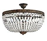 Cristal Lámpara de Techo, Antiguo Cristal Lámpara de Techo para Suelo, Florence Ø50cm Oro Antiguo 5 Lámparas Fabricado de Pulidos Centelleante Cristales