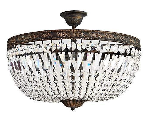 Florence Plafondlamp, antieke kristallen plafondlamp voor de hal, diameter 50 cm, antiek goud, 5 vlammig gemaakt van geslepen fonkelende kristallen
