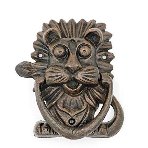 La decoración de la vendimia Aldabas cabeza de león Aldaba, moldeada retro de hierro en bruto hierro Aldaba, rústica del golpeador de puerta manija for Casa Patio Patio Casa Manor aldaba de decoración
