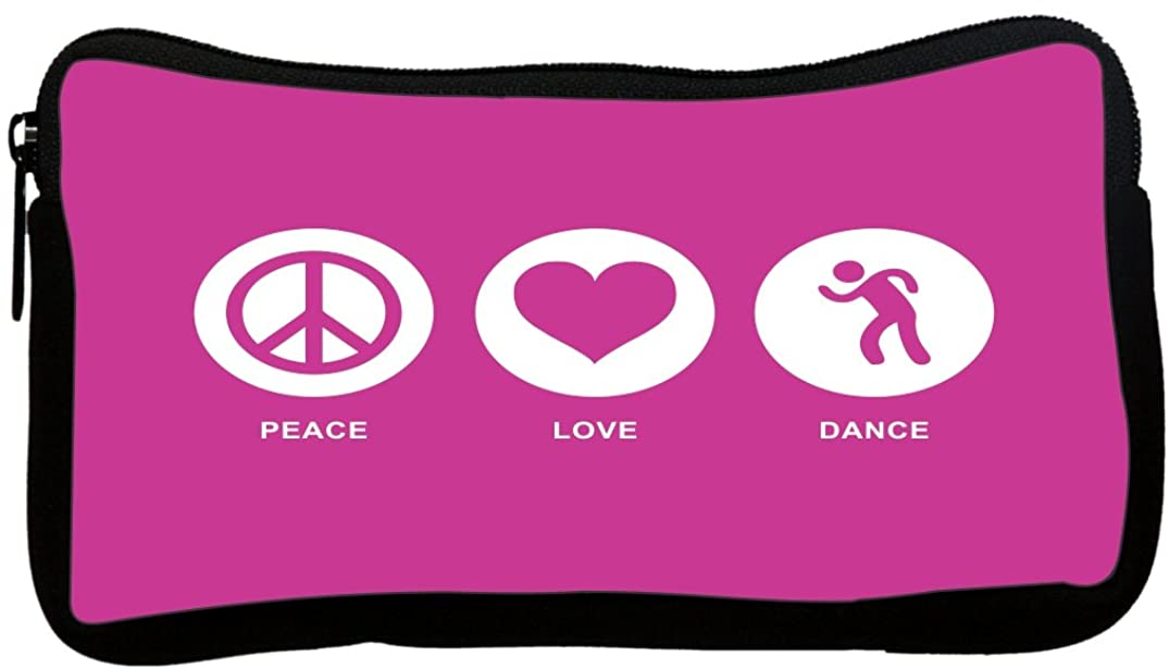 Rikki Knight Peace Love Dance Rose Pink Color Neoprene Pencil Case (dky-Neo-pc42447)