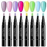NICOLE DIARY 5ml One Step Gel UV Pen 3 In 1 Soak Off UV LED Gel Set smalto per unghie No Base Top Coat Need Kit di smalto per unghie colorante fluorescente (8 colori)