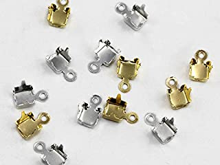 SS12 Silver Rhinestone Cup Chain Ends - 16Pieces