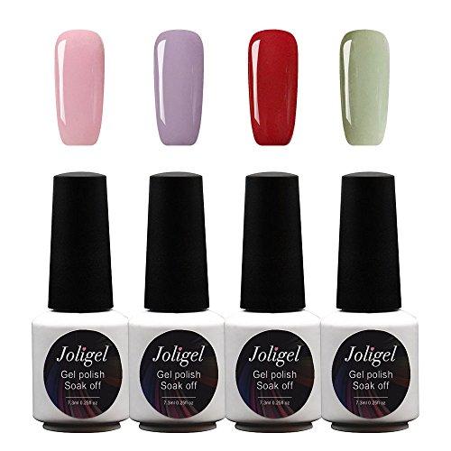 Joligel Kit 4x Esmaltes Semipermanentes Shellac para Uñas de Gel Set Pintauñas Permanentes Manicura Pedicura UV LED Nail Art Multicolor (7,3ml), Rosa sakura + Lavanda +...