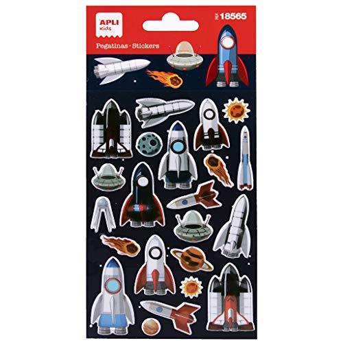 APLI Kids 18565 - Pegatinas de Naves Espaciales. Incluye 1 hoja con 22 pegatinas de adhesivo permanente. Ideales para Scrapbooking, decoración o DIY