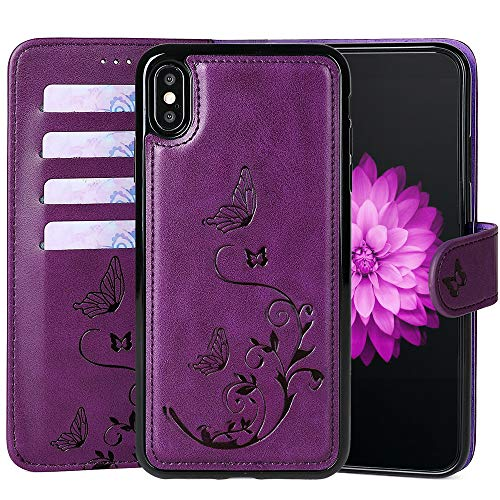 WaterFox Case for iPhone XR, Wallet Leather Case with 2 in 1 Detachable Cover, Women's Vintage Embossed Pattern with 4 Card Slots & Wrist Strap Case - Purple
