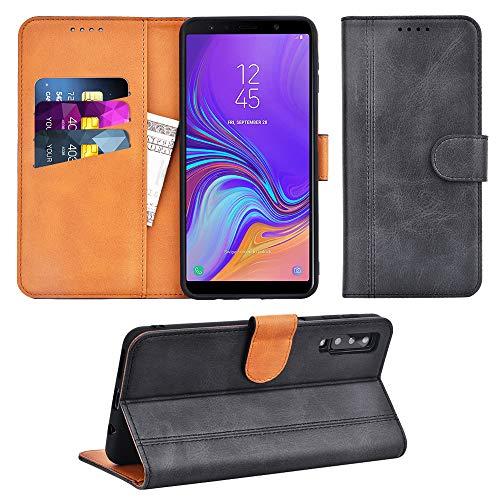 Adicase Galaxy A7 2018 Hülle Leder Wallet Tasche Flip Hülle Handyhülle Schutzhülle für Samsung Galaxy A7 2018 (Dunkelgrau)