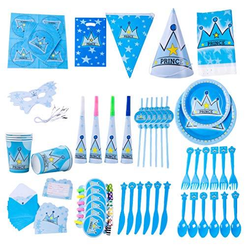 Amosfun Juego de vajilla desechable de 90 piezas juego de cubiertos de papel de cumpleaños para niños vajilla estilo princesa príncipe para fiesta